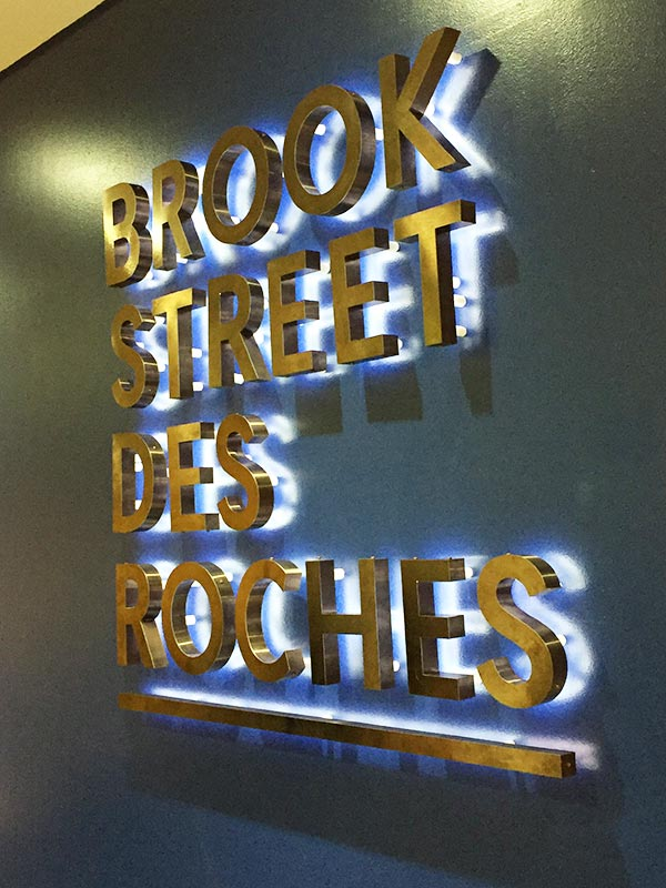 Brook Street Des Roches illuminated letters